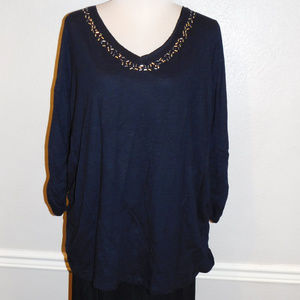 22/24 Lane Bryant Black Metallic Knit Top NWOT